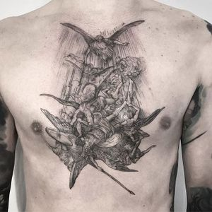 Angels and demons tattoo by Lesya Kovalchuk. #LesyaKovalchuk #blackwork #angel #demon #war #fight #fallenangel