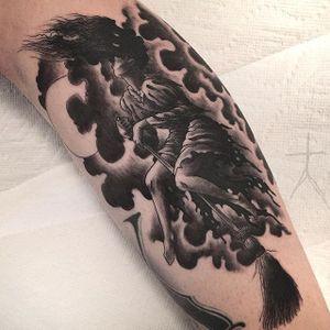 Witch Tattoo by CJ Tattooer #witch #blackwork #darkblackwork #darkart #darkartist #blackworkartist #savageblackwork #XCJX #CJTattooer #ChristopherJadeCuevas
