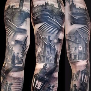 Jack the Ripper tattoo, artist unknown. #JacktheRipper #serialkiller #history #england #london #killer #blackandgrey