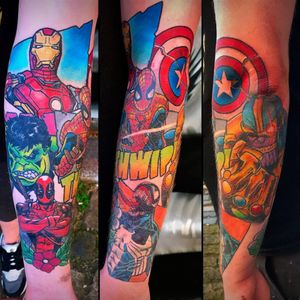 That's got just about everyone on there. (via IG - stickypop) #MarvelTattoo #MarvelTattoos #ComicBookTattoo #ComicBookTattoos