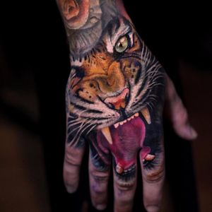 Tiger paw by Luka Lajoie #LukaLajoie #realism #realistic #hyperrealism #color #tiger #fangs #junglecat #cat #tattoooftheday