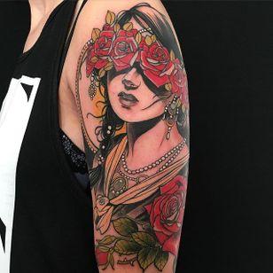 Pretty tattoo by Jurgen Eckel #JurgenEckel #neotraditional #lady #halfsleeve