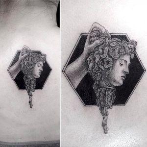Severed Medusa Head by Mr.K / Sanghyuk Ko @mr.k_tats #Medusa #blackandgrey #micro #mr.k #sanghyukko