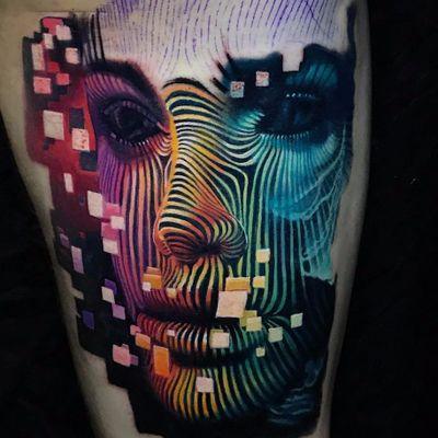 We are the matrix by Boris Tattoo #Boristattoo #boris #color #realism #realistic #hyperrealism #face #portrait #linework #shapes #rainbow #square #scifi #lady #tattoooftheday