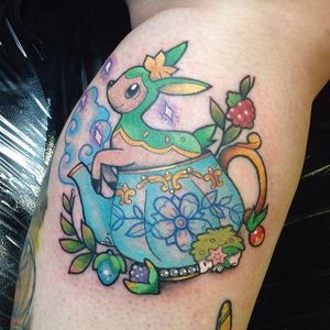 Little anime character in a teacup by Carly Kroll (via IG- @carlykroll) #carlykroll #neotraditional #cute #animal #teacup
