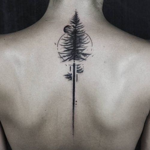Back pine tattoo by Gavor Zolyomi #GaborZolyomi #FatumTattoo #blackwork #illustrativetattoo #tree #spinetattoo