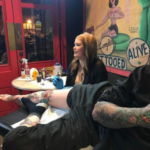 Michele Myles tattooing at the Gus Wagner exhibit as South Street Seaport Museum (IG—bradfink). #GusWagner #MicheleMyles #SouthStreetSeaportMuseum #tattoohistory