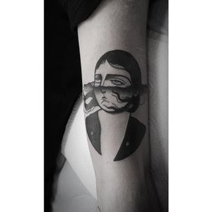 Sad girl tattoo by Fidjit Lavelle. #blackwork #sad #sadgirl #sadgirlclub #subculture #FidjitLavelle