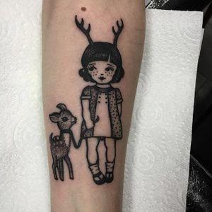 Blackwork little girl tattoo by Sarah Whitehouse. #SarahWhitehouse #Manchester #UK #blackwork #littlegirl #kid #girl #cute #adorable #fawn #antler #dotwork