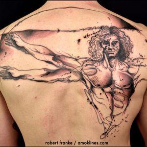 O Homem Vitruviano por Robert Franke #RobertFranke #obradearte #art #LeonardodaVinci #DaVinci #homemvitruviano #vitruvianman #sketchstyle #watercolor #aquarela