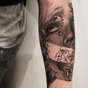 Man Ray meets Da Vinci tattoo by Cold Gray #ColdGray #realism #realistic #hyperrealism #illustrative #portrait #ManRay #eyes #tears #teardrop #skull #lady #death #human #sacredgeometry #DaVinci