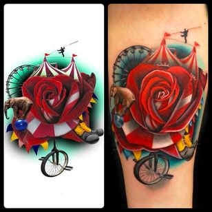 From an intangible idea to skin. Circus Rose Tattoo by Andrés Acosta @Acostattoo #AndrésAcosta #Acostattoo #Rose #Rosetattoo #Rosetattoos #Austin #Circus