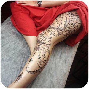 Beautiful decorative leg sleeve by @mangust_tattooer #legsleeve #decorative