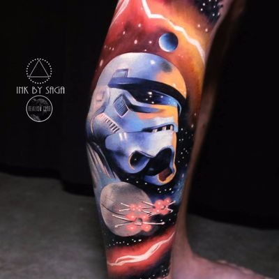 Stormtrooper by Sage Anderson #SageAnderson #realism #realistic #hyperrealism #color #Stormtrooper #StarWars #galaxy #stars #solarsystem #moon #deathstar #spaceship #movietattoo #tattoooftheday