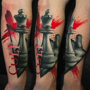 Chess piece tattoo by Michael Cloutier @cloutiermichael #Michaelcloutier #blackandgrey #blackandgray #blackandred #black #red #trashpolka #realism #chess