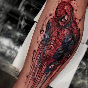Spiderman tattoo by Felipe Rodriguez. #FelipeRodriguez #spiderman #marvel #comic #superhero #brazil #brazilian #sketch #watercolor #neotraditional