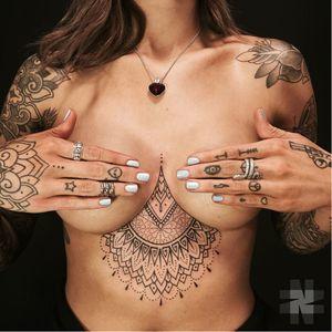 Half mandala tattoo by Nazareno Tubaro #NazarenoTubaro #geometric #dotwork #blackwork #ornamental #halfmandala