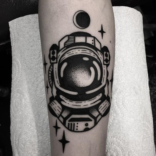 Astronaut Tattoo by Jaffa Wane #astronaut #astronauttattoo #blackwork #blackworktattoo #blackworkartist #darkart #JaffaWane