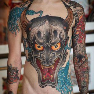 Hannya tattoo by Johan Svahn #JohanSvahn #demontattoos #color #Japanese #Hannya #hannyamask #demon #devil #ghost #yokai #horns #evil #teeth #tassels #samurai #waves