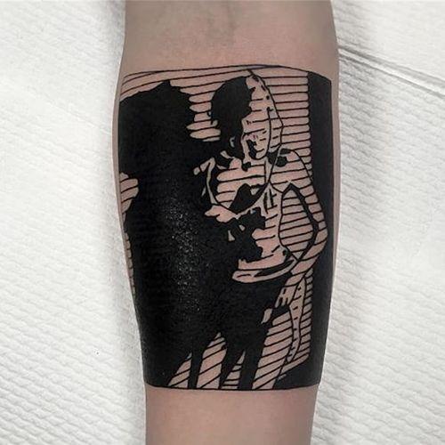 Woman's silhouette box tattoo by Charley Gerardin. #CharleyGerardin #box #portrait #contemporary #pointillism #blackwork #dotwork #handpoke #woman #silhouette
