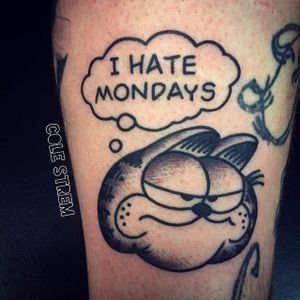 Garfield tattoo by Cole Strem. #monday #Garfield #comic #cartoon #cat