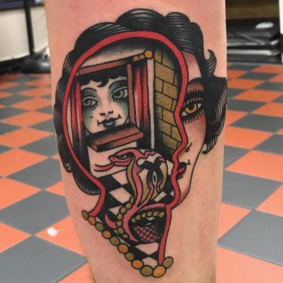 Mind landscape tattoo by Bailey tattooer #BaileyTattooer #landscapetattoo #color #portrait #ladyhead #surreal #window #brickwall #architecture #cobra #snake #pattern #face #brain #mind #creative #tattoooftheday