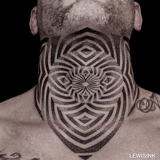 Pointillism optical illusion tattoo by Lewis Ink. #LewisInk #Kinetink #opticalillusion #geometric #pointillism #geometry #neck