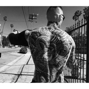 Marshall's traditional eagle and snake backpiece Photo by Marco Ovando #MarshallPerrin #tattoomodel #tattooedguys #firefighter #traditionaltattoo #tattoododudes #MarcoOvando