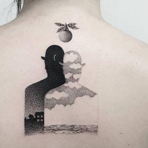 Magritte tattoo by Matteo Nangeroni #MatteoNangeroni #surrealisttattoo #blackandgrey #dotwork #magritte #painting #hat #landscape #sky #clouds #orange #house #night #day