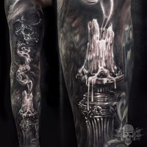 Awesome fine details in this candle and skull sleeve Tattoo by Javier Antunez @Tattooedtheory #JavierAntunez #Tattooedtheory #Blackandgrey #Realistic #Candle #Skull #Smoke