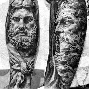 A pair of godly looking figures by Lil B (IG—lilb_tattoos). #blackandgrey #Christian #LilB #realism #religious