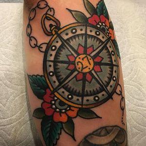 Compass Tattoo by Matt Cannon #compass #compasstattoo #traditional #traditionaltattoo #traditionaltattoos #oldschool #oldschooltattoo #classictattoo #MattCannon