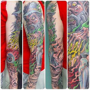 Wizard sleeve by Jeff Ensminger (via IG -- jeffensminger) #jeffensminger #wizard #sleeve #wizardsleeve #wizardsleevetattoo