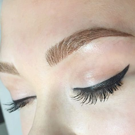 Tattooed eyebrows, Image Source: Shaughnessy Keely #cosmetics #eyebrows #Microblading #consmetictattooing
