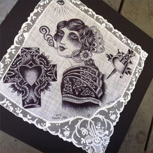 Smoking via instagram maryjoytattoo #handkerchief #flashart #art #cross #cigarette #dagger #women #heart #maryjoy