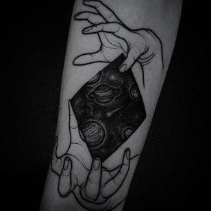 Blackwork tattoo by Felipe Kross. #FelipeKross #blackwork #dotwork #universe #cosmos #galaxy
