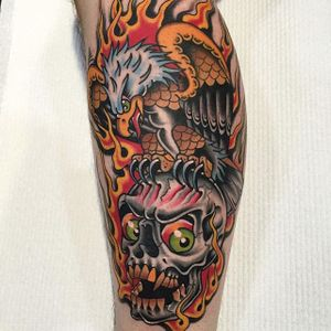 One of Moses D Mezoghlian's hardcore eagle and skull tattoos (IG—moses_d_mezoghlian).