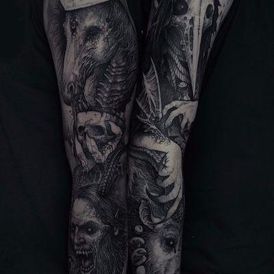 Incredible leg work by Rob Borbas #RobBorbas #Grindesign #horse #skull #claw #demon #horror #evil #blackwork #blackandgrey #wings #bones #skeleton #tattoooftheday