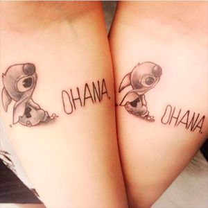 The Hawaiian cultural word for family with little Stitch, Photo from Pinterest #sister #family #bestfriend #matchingtattoos #siblingtattoo #StitchOhana