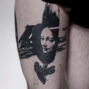Blackwork trash portrait tattoo. #NastasjaBarashkova #abstract #contemporaryart #blackwork #trash