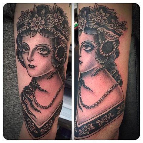 Classy and Beautiful Gypsy Girl Tattoo by Marie Sena #Mariesena #Electriceye #Dallas #Texas #Black #Traditional #Lady #Girl #blackwork