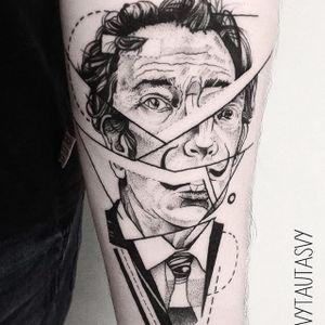 Salvador Dali tattoo by Vytautas Vy. #VytautasVy #blackwork #SalvadorDali #painter #artist #portrait #geometric