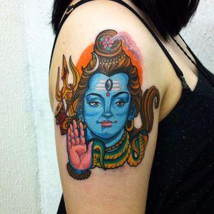 Shiva Tattoo by Derek Padilha #Shiva #Hinduism #deity #traditional #DerekPadilha