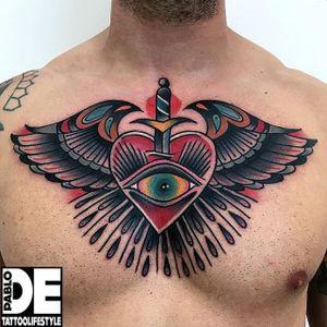 Winged Heart Tattoo by Pablo DE #wingedheart #wingedhearttattoo #traditional #traditionaltattoo #traditionaltattoos #oldschool #italiantattoos #PabloDe
