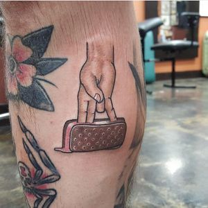 Funny Tattoos: Two in the Pink and One in the Stink by Huka #iamhuka #funnytattoos #color #traditional #newtraditional #icecream #hand #pink