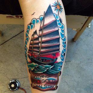 Junk Ship Tattoo by Matt Howse #junkship #junkboat #junk #asianboat #chineseboat #chineseboats #chinesetattoo #MattHowse