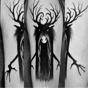 Sweet monster tattoo by Sergei Titukh #SergeiTitukh #blackwork #monster
