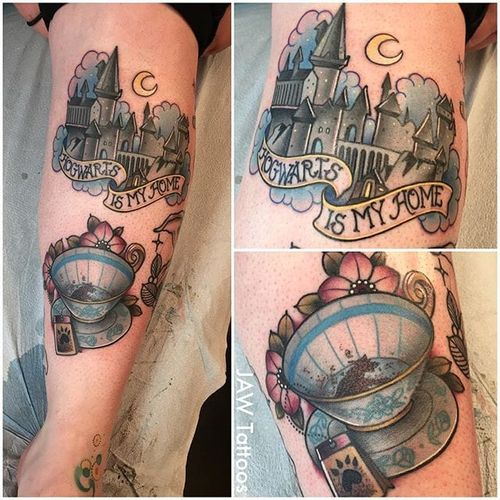 Harry Potter tattoo by Jessica White. #JessicaWhite #jawtattoos #neotraditional #harrypotter #hp #book #movie #hogwarts