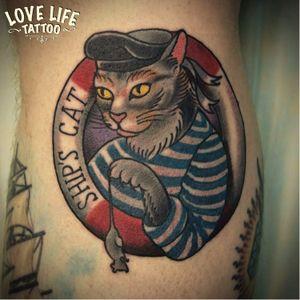 Lifebuoy tattoo done at Love Life Tattoo #lifebuoy #nautical #maritime #cat #shipscat #mouse #sailor #LoveLifeTattoo