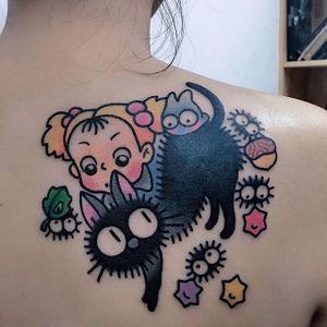 Studio Ghibli tattoo by Pikkapimingchen. #Pikkapimingchen #cartoon #cute #graphic #studioghibli #ghibli #sootsprite #myneighbortotoro